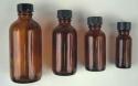 1 Dozen Amber Glass Bottles 4 oz. - Product Image