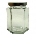Hexagonal Jar with Gold Colored Lid - 9 Oz. - Product Image