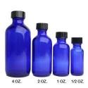 1 Dozen Cobalt Glass Bottles 1/2 oz. - Product Image